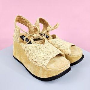 90s MUDD platform wedge sandals